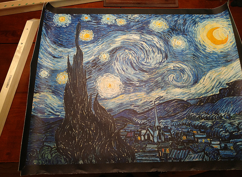 Photowalls diy frame makes their vincent van goghs starry night make sure that the ridge of the wood is facing the inside of the print at this point youre supposed to smooth over the cloth to the frame piece solutioingenieria Gallery