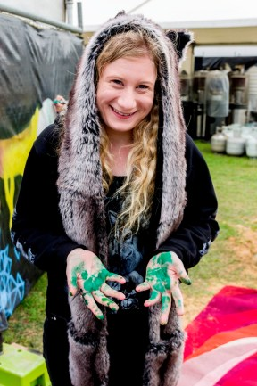 Jasmin with green hands. Photo by Rob Cox