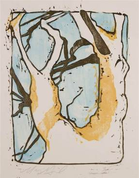 "Margaret Grill 2006 Gouache pigment with wood block print 11"" * 14"""