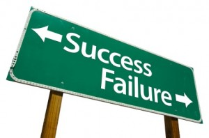 Road sign with Succes in one direction and failure in the other