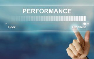 The word performance and a scale ending in Excellence