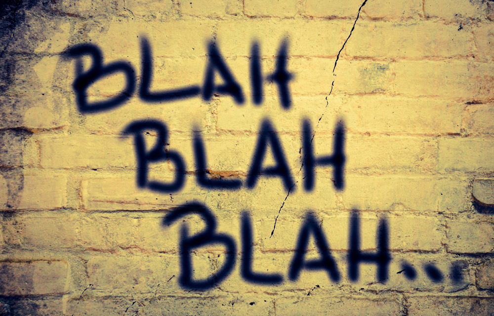 Image showing the words Blah, Blah, Blah spraypainted on a brick wall