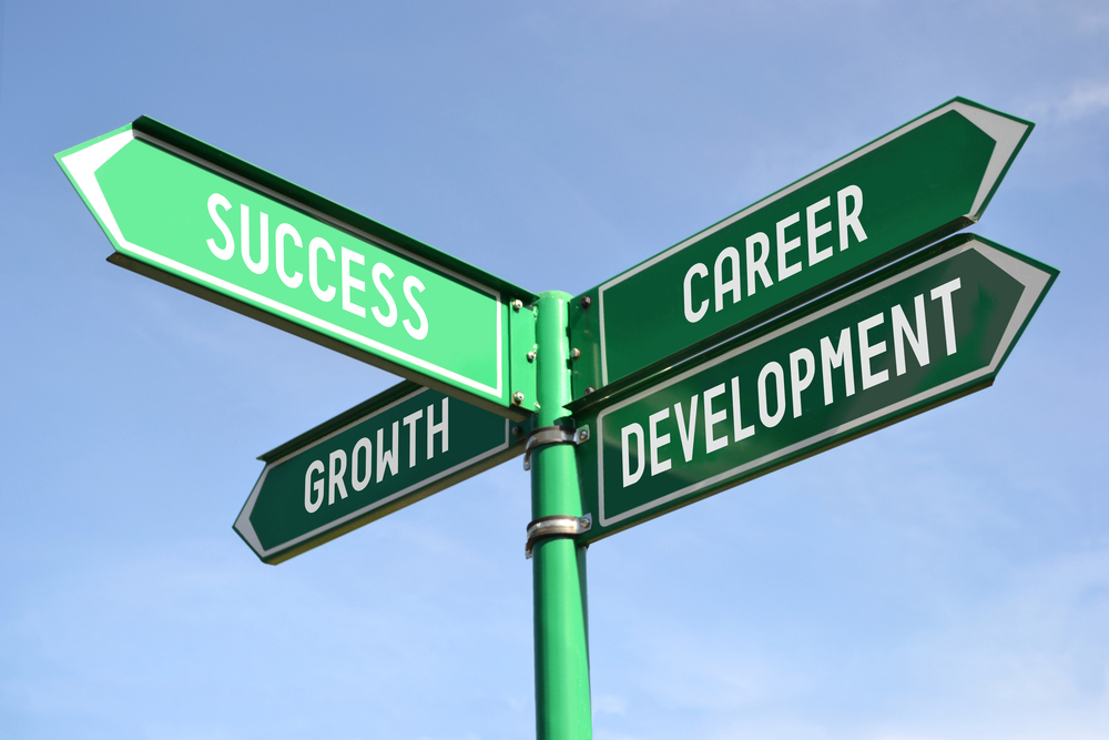 Street signs with words: Success, Career Development, Growth