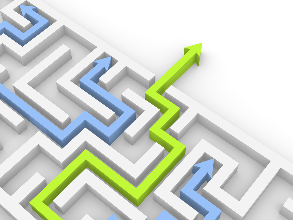 A maze depicting the proper course through to the exit