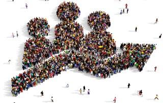 people organized in form of a performance arrow trending upward