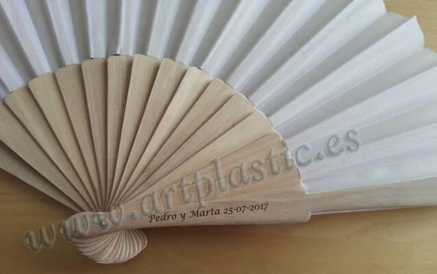 abanico madera color blanco grande personalizado original