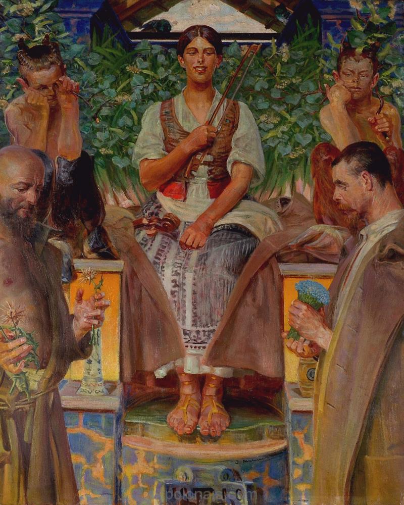 Jacek Malczewski: Hommage à l'art et à la muse. 1910.