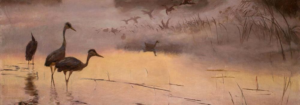 Józef Chełmoński: L'aube. Royaume des oiseaux. 1906. Détail.