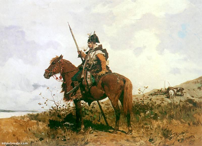 Józef Brandt: Cosaque à cheval. 1881. Huile sur toile. 37,5 x 46,5 cm. Collection privée.