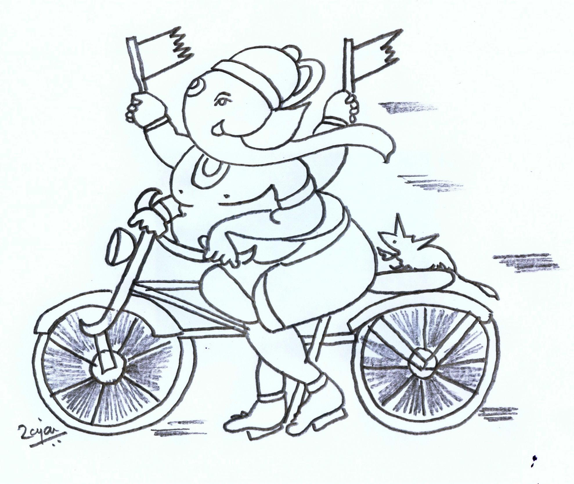 Ganesha in bicycle