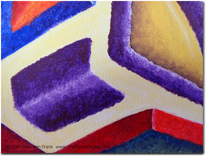 Close up of purple chevron shape and triangle