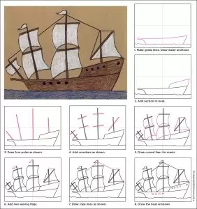 Draw a Mayflower Ship  Art Projects for Kids