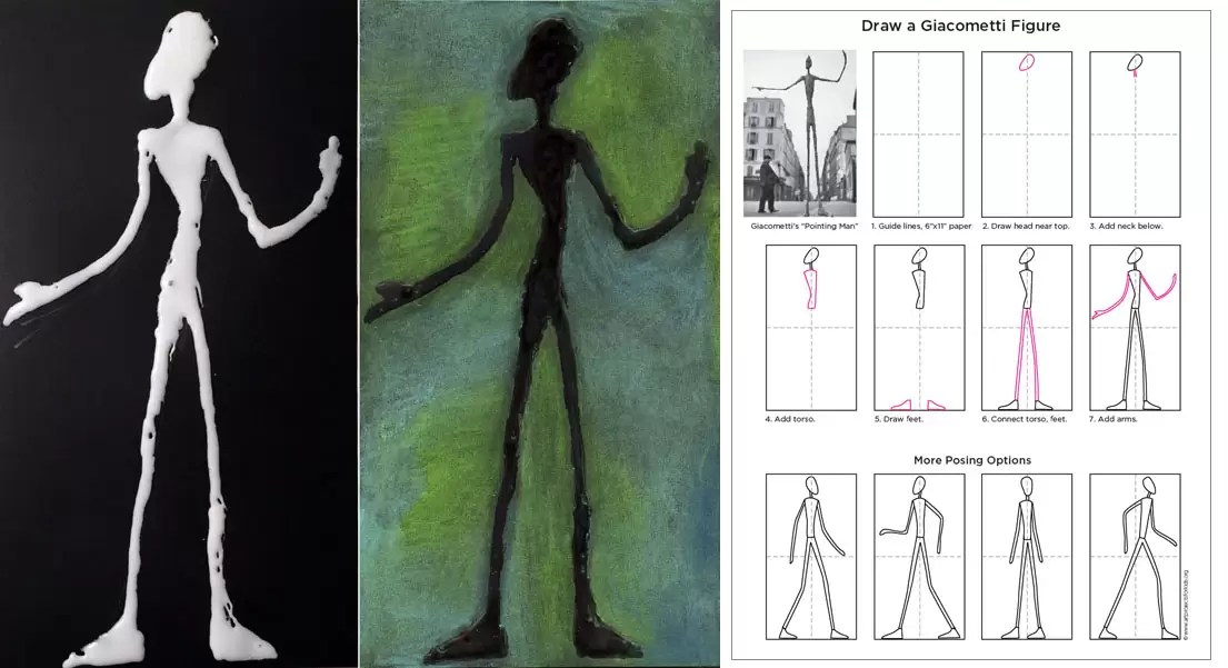 Giacometti Glue Drawing Art Projects For Kids
