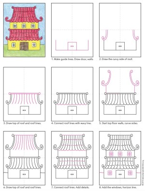 Draw an Asian House · Art Projects for Kids