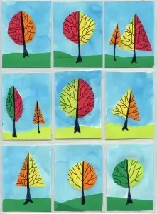 Tape and watercolor trees