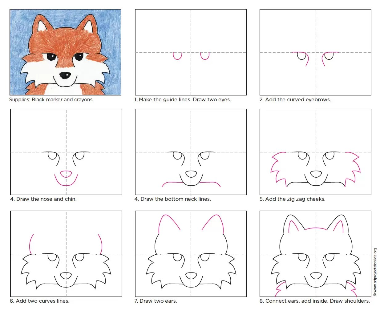 How To Draw A Fox Face Art Projects For Kids