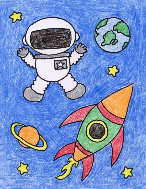 Draw An Astronaut Art Projects For Kids