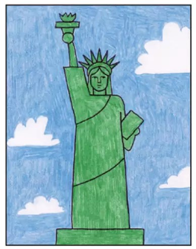 Draw An Easy Statue Of Liberty Art Projects For Kids
