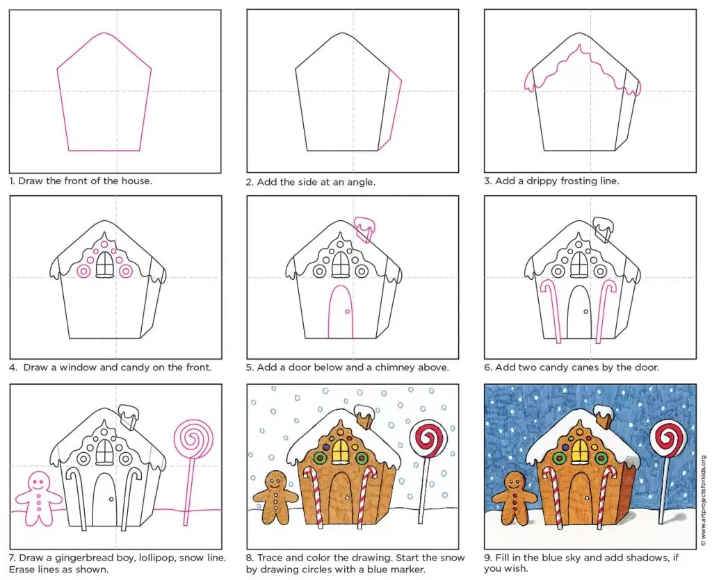 Draw A Gingerbread House Art Projects For Kids