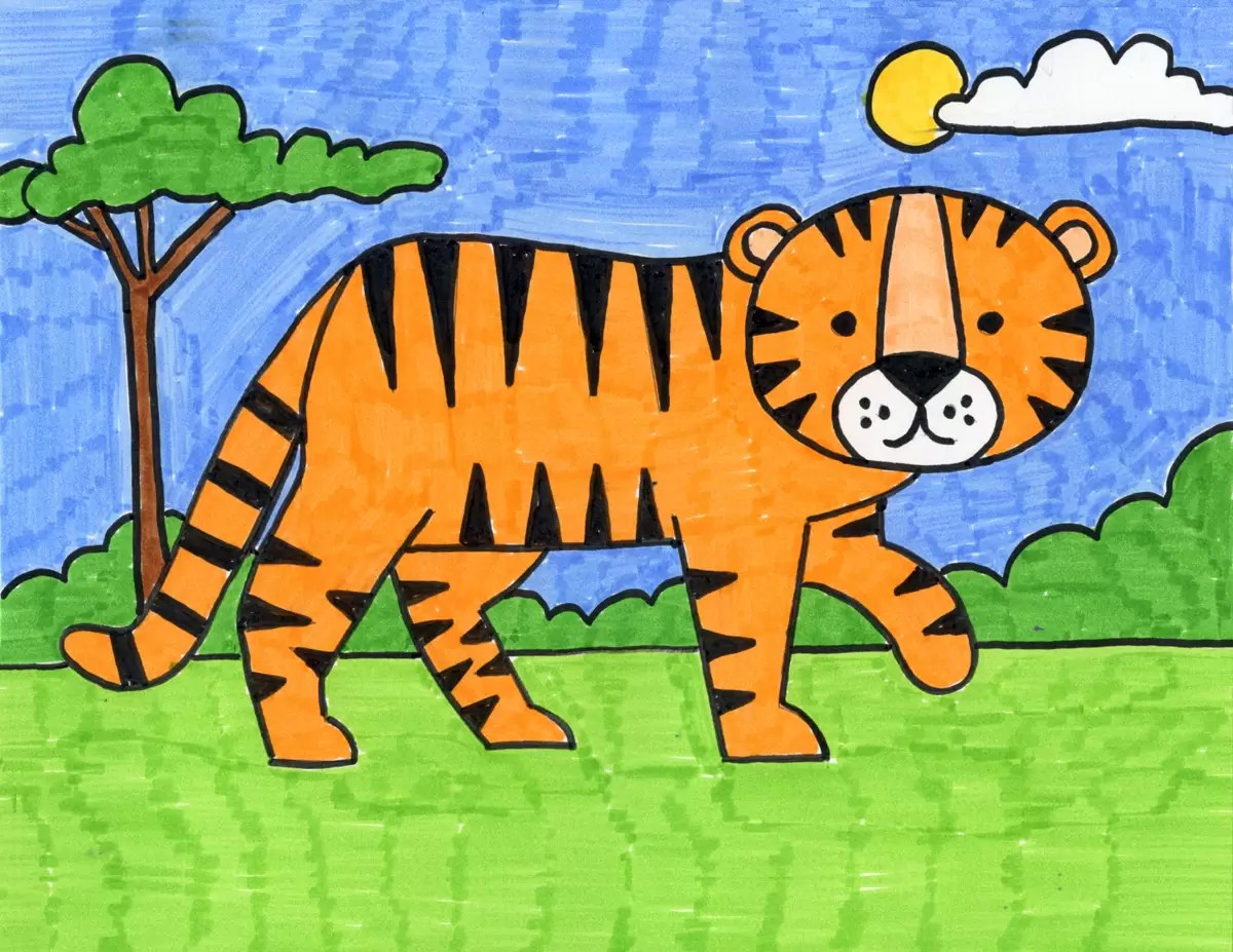 How To Draw A Tiger Art Projects For Kids