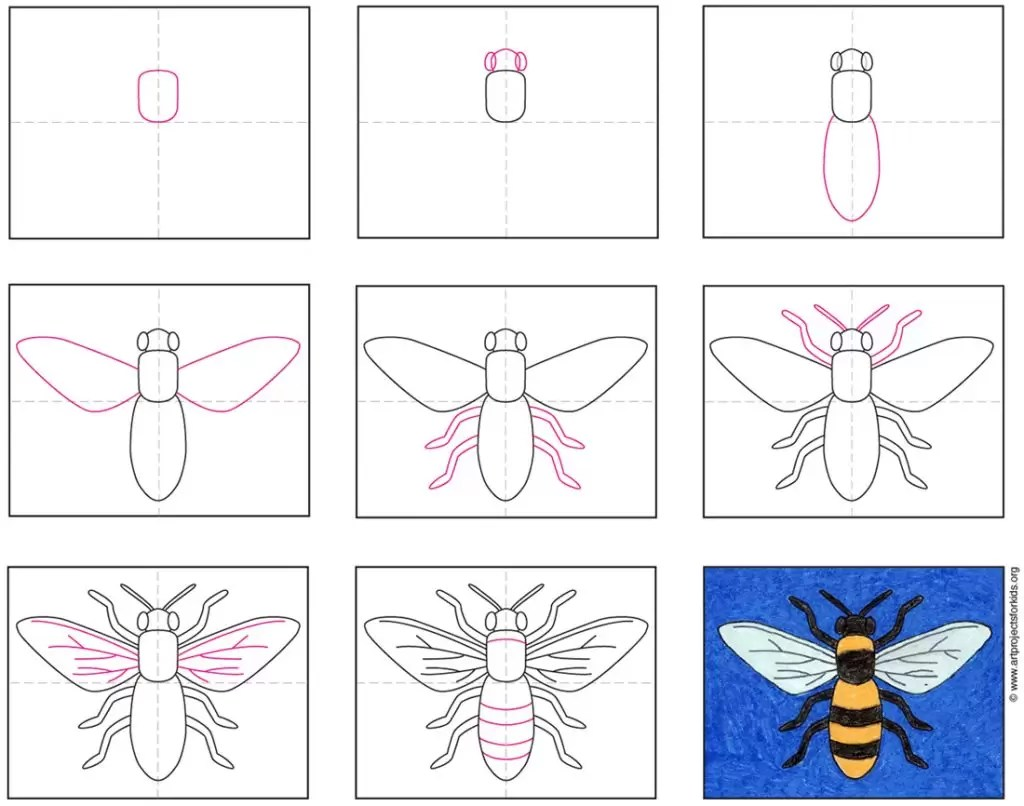 How To Draw A Bee Art Projects For Kids