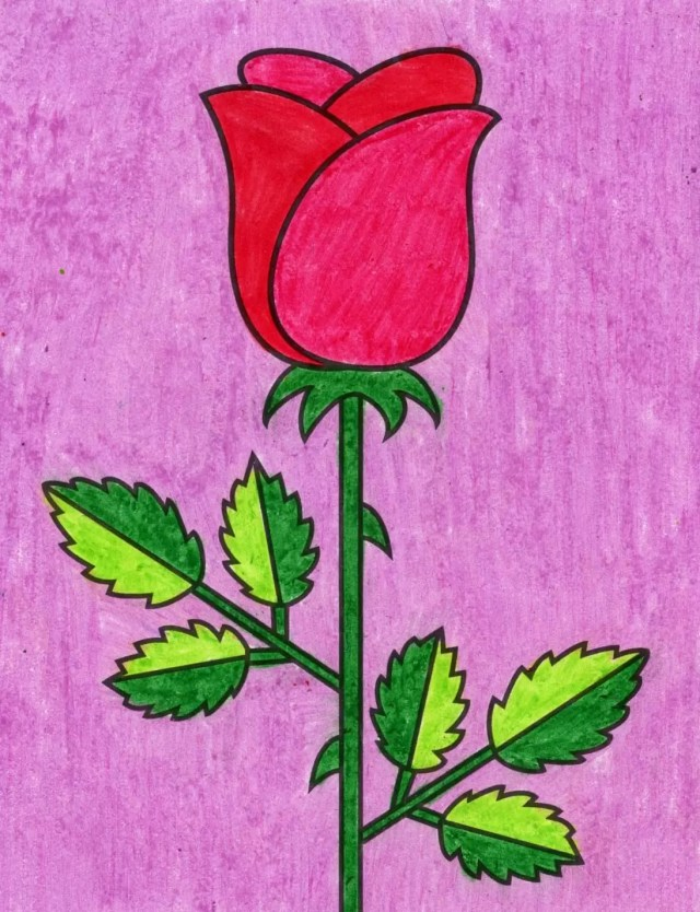 How to Draw an Easy Rose  Rose Coloring Page