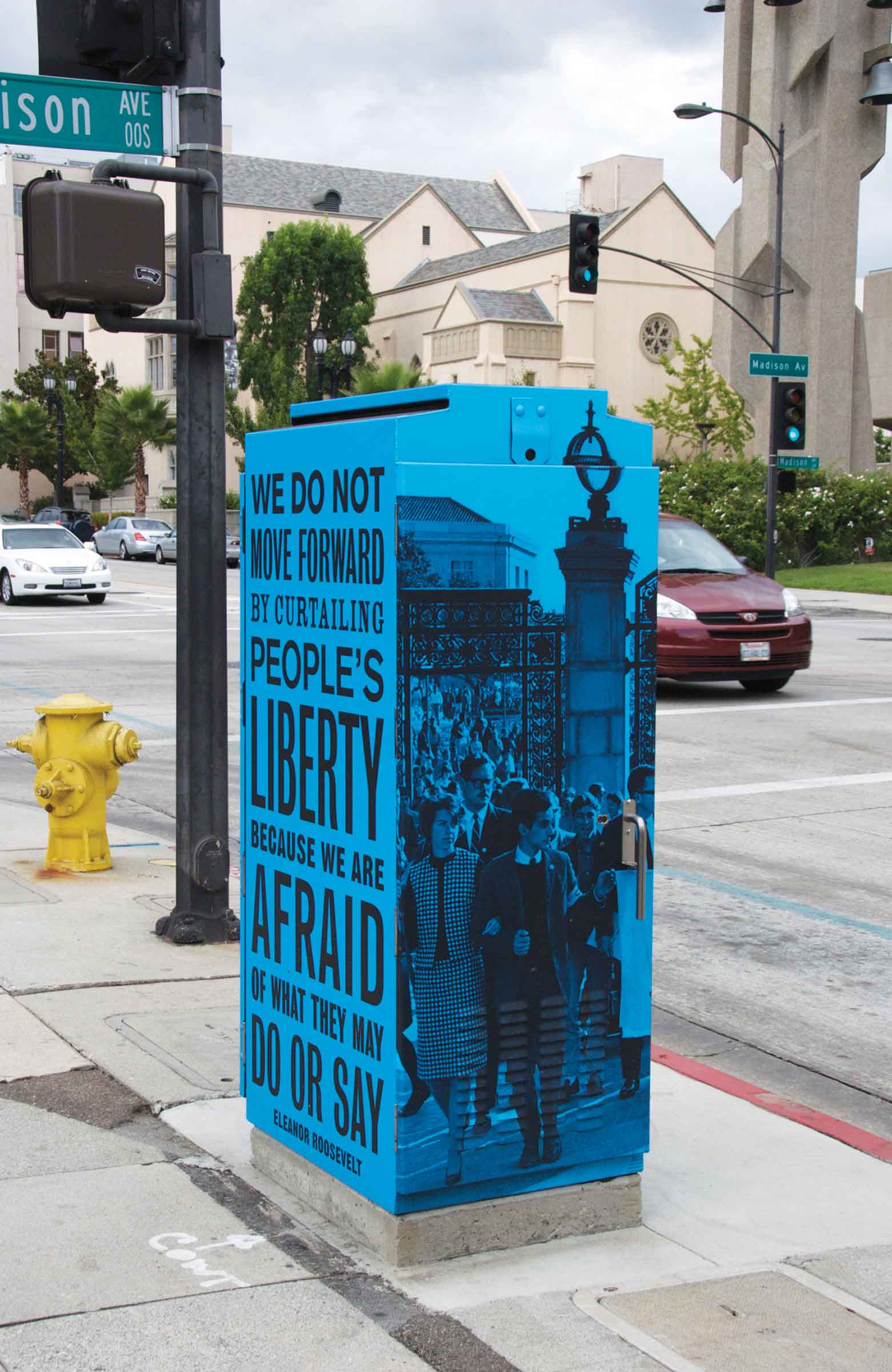 Utility, 2011, vinyl wraps, five utility boxes. Public art commission by Pasadena Playhouse District, Pasadena, CA.