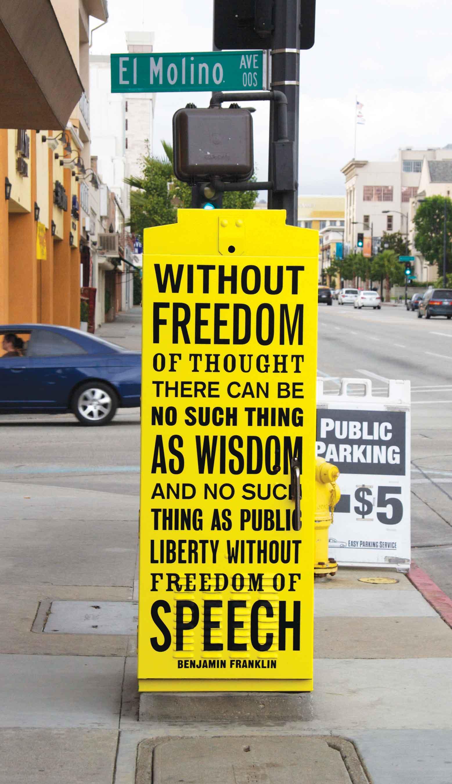 Utility, 2011, vinyl wraps, five utility boxes. Public art commission by Pasadena Playhouse District, Pasadena, CA.