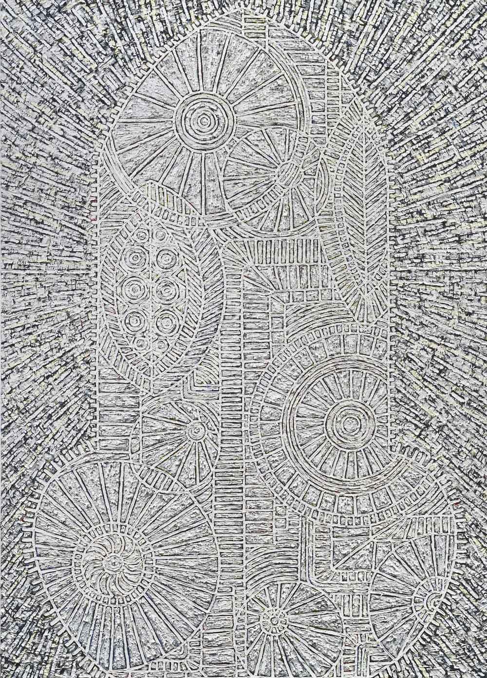 "Helen Rebekah Garber,  Tower II, 2012, oil on canvas, 84""x60"". Courtesy Charlie James Gallery."