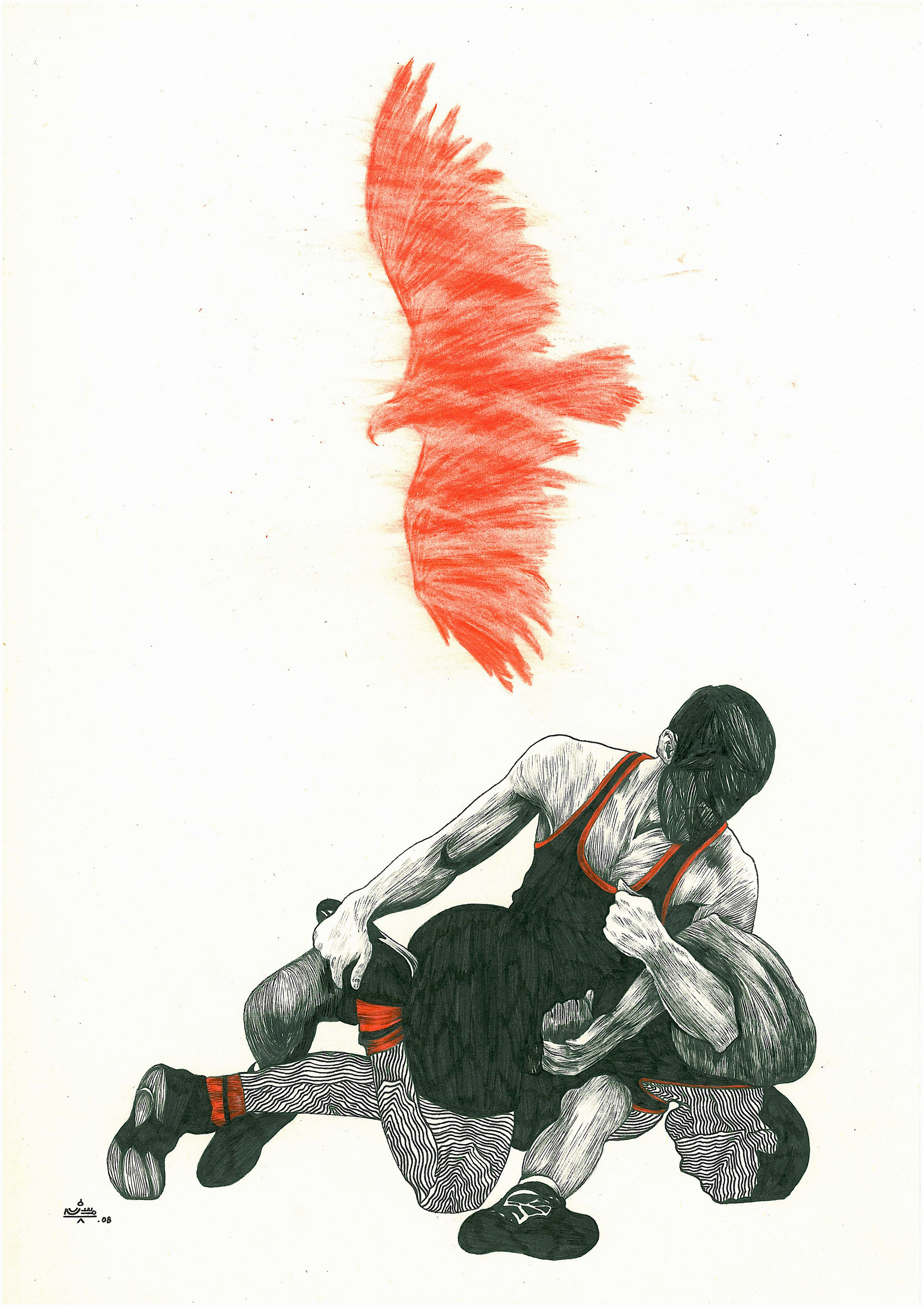 Mohsen Ahmadvand, Wrestlers, 2008, mixed media, courtesy of artist, Thomas Erben and XVA galleries