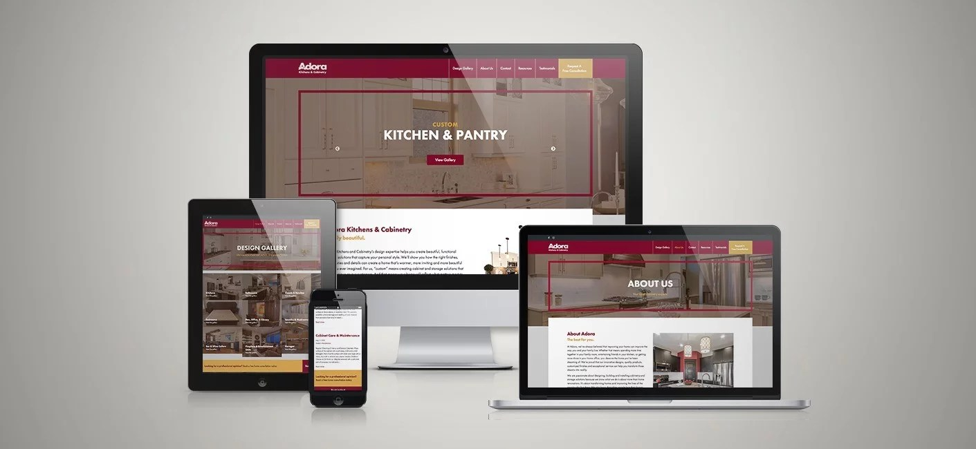 Adora Kitchens & Cabinets Website Mockup by ArtRageous Advertising
