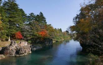 厳美渓の紅葉の写真