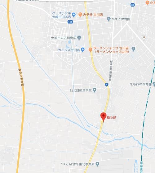 麺次郎古川総本家の場所の地図
