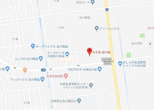 みそ伝古川店の地図