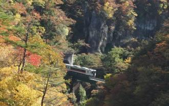 奥の細道ゆめむりラインの電車の風景写真