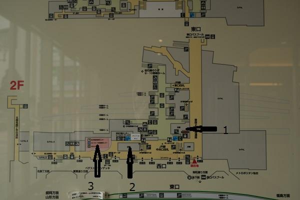 仙台駅の構内図で見るお土産売り場の場所の紹介写真