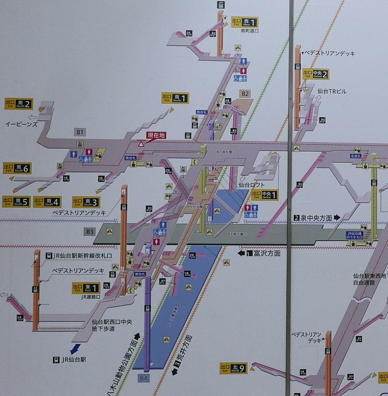 仙台駅地下鉄の構内図2