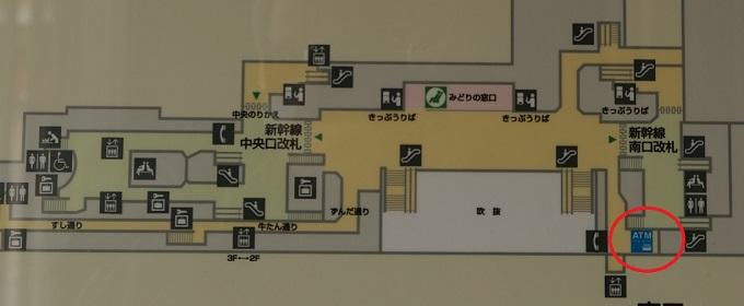 仙台駅3階のATMの場所の構内図の写真