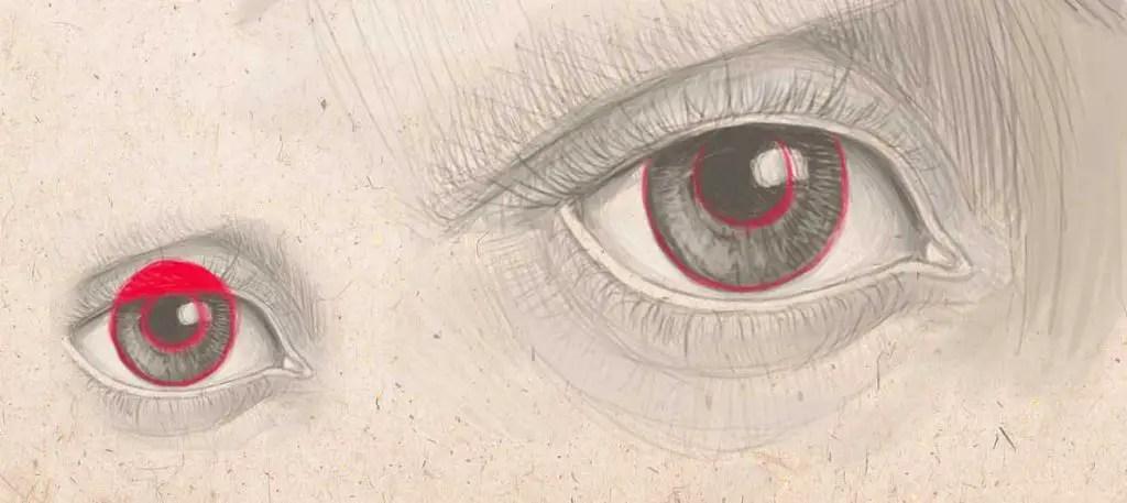 瞳孔を描く