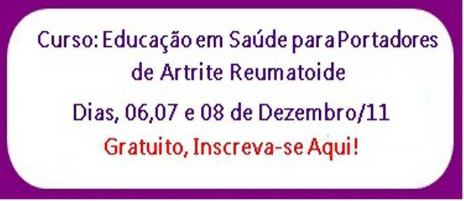 """Curso Educação em Saúde para Portadores de Artrite Reumatoide *Grátis"""""""