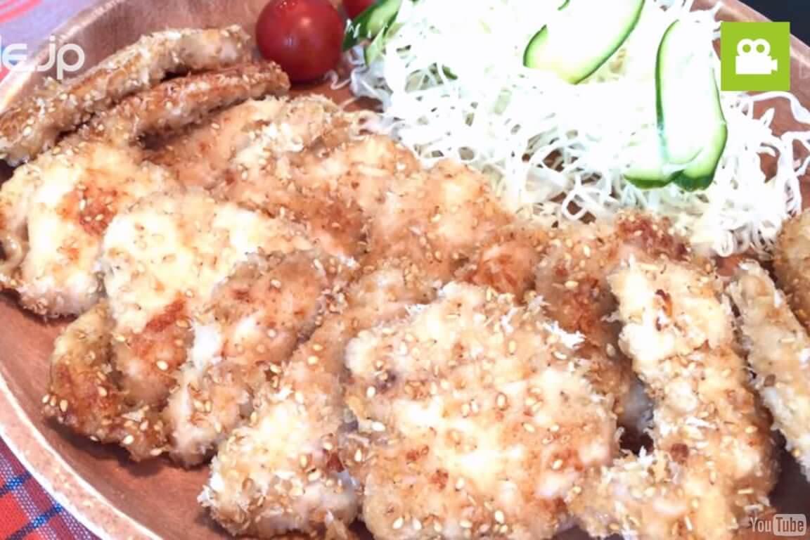 和風の味わいで美味しい!胸肉のごまパン粉焼きの作り方・レシピ