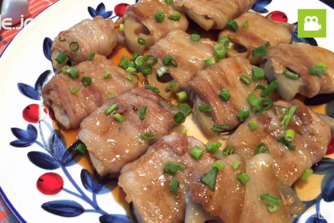 シャキシャキ感が最高!豚バラれんこん巻きの作り方・レシピ