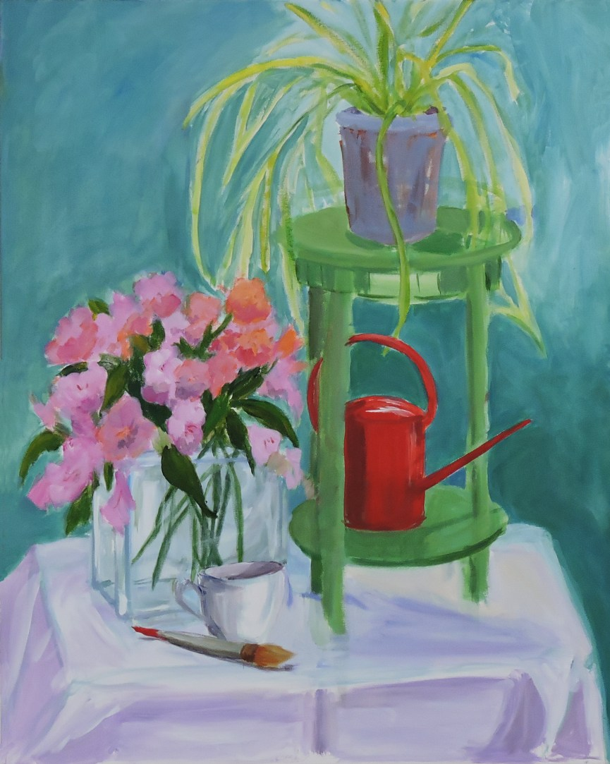 Cadwalader_Red Watering Can_acrylic on canvas_20 x 24_595