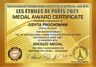 MEDAL AWARD CERTIFICATE bronze medal_JUDYTA PROCHOWNIK-1