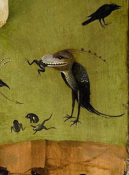 Рай Босха птица глотает лягушку