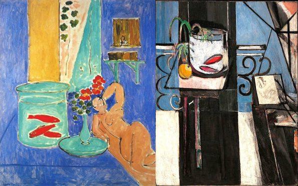 """Картины Анри Матисса в музее современного искусства в Нью-Йорке. Слева: """"Золотые рыбки и скульптура"""" 1911 г. Справа: """"Золотые рыбки и палитра"""". 1914 г."""