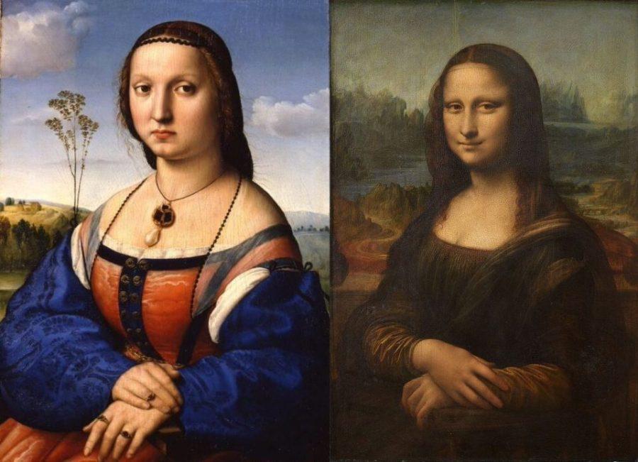 Слева: Рафаэль. Портрет Маддалены Строцци. Справа: Леонардо да Винчи. Мона Лиза.