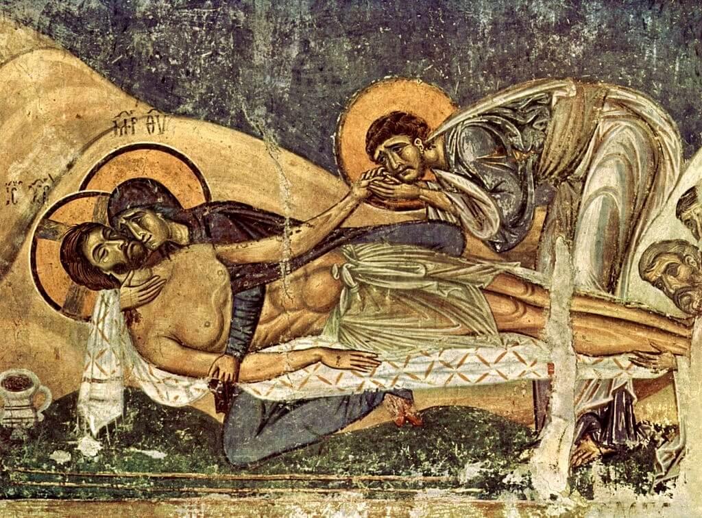 Оплакивание Христа фреска 12 век