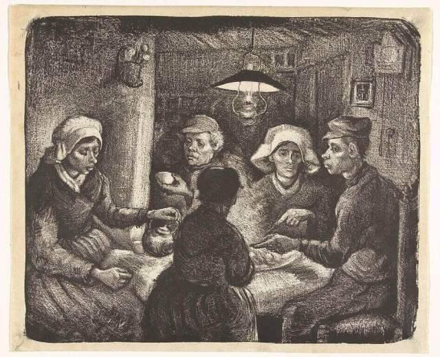 Ван Гог едоки картофеля литография