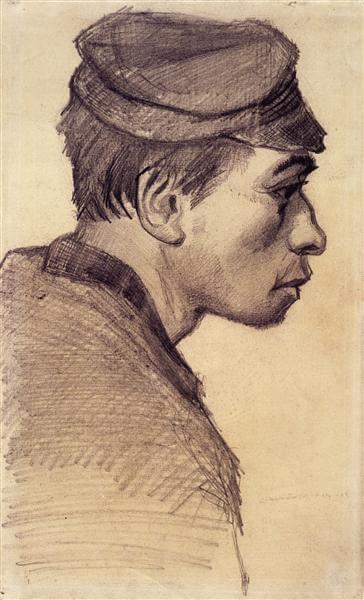 Ван Гог голова молодого мужчины 1884 г.